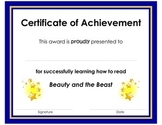 Certificate of Achievement Award for Learning to Read BEAU