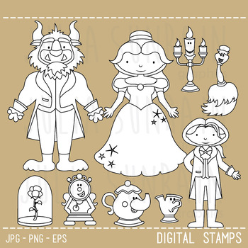 Beauty and the Beast - Digital Stamp - Digital Clipart & Vector Set