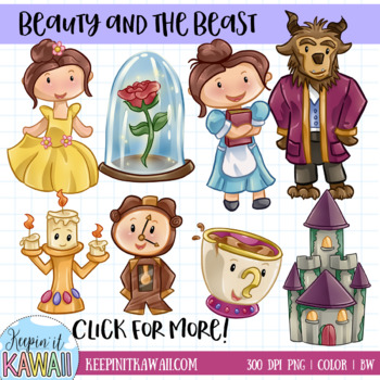 Beauty and the Beast Fairy Tale Clip Art Set