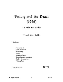 Beauty and the Beast-French Study Guide