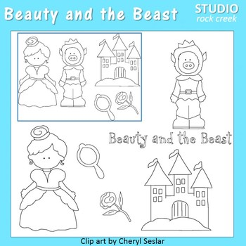 Beauty and the Beast Line Drawings  C. Seslar