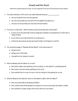 Beauty and the Beast Story Test (Imagine It - Grade 3 - Unit 1)