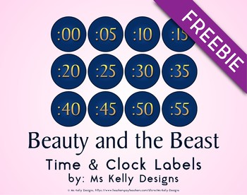 Beauty and the Beast Time & Clock Labels