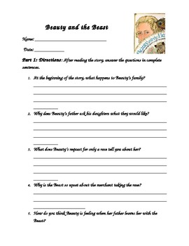 Beauty and the Beast by Jan Brett Comprehension Worksheet