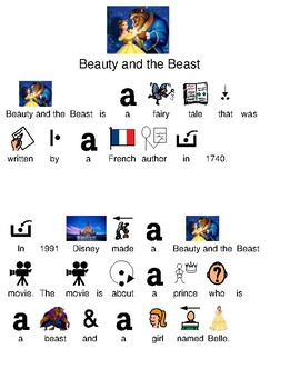 Beauty and the Beast - picture supported text review lesson facts info movie