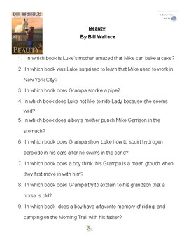 Beauty by Bill Wallace, Battle of the Books Questions