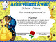 Beauty & the Beast Achievement Award English and Spanish version Editable!!!