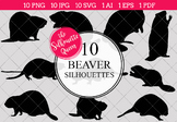 Beaver Silhouettes Clipart Clip Art (AI, EPS, SVGs, JPGs, PNGs, PDF)