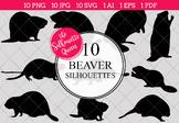 Beaver Silhouettes Clipart Clip Art (AI, EPS, SVGs, JPGs,