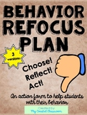 Behavior Refocus Plan behavior form IB PYP Inquiry