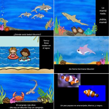 Baby Shark: Family Members and Ocean Life Spanish Unit #tptdistancelearning