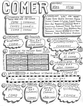 Beber Comer Spanish verb activity worksheet practice no prep verb conjugation