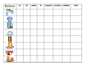 Beber Spanish verb Connect 4 game