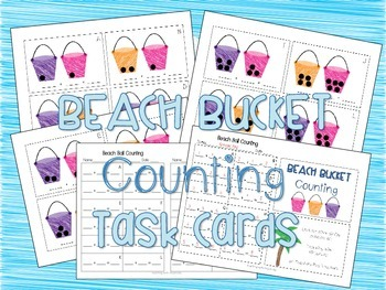 Beach Bucket Counting Task Cards