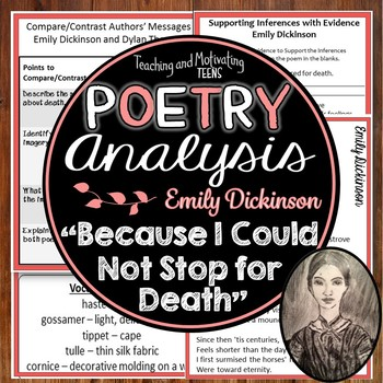 """Emily Dickinson """"Because I Could Not Stop for Death"""" Close Reading & Posters"""
