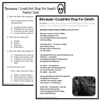 Because I could not stop for Death: CC Poetry Test Prep Lesson, Quiz, Activities