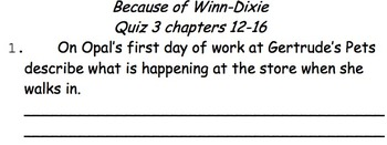 Because Of Winn Dixie Quiz Packet