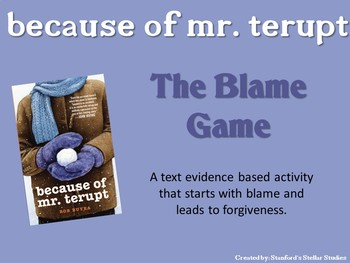 Because of Mr. Terupt Blame Game Forgiveness Theme Project Organizer