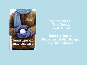 Because of Mr. Terupt (Rob Buyea) Book Club Discussion/Trivia