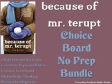 Because of Mr. Terupt Choice Board BUNDLE 12 Activity Page