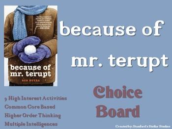 Because of Mr. Terupt Choice Board Tic Tac Toe Novel Activities Menu Assessment