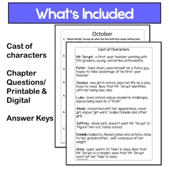 Because of Mr. Terupt Printable and Digital  Discussion Questions