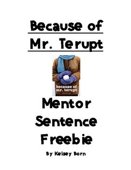 Because of Mr.Terupt Mentor Sentences WEEK 1 Freebie