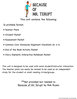 Because of Mr. Terupt Novel Study Book Unit Printable Version
