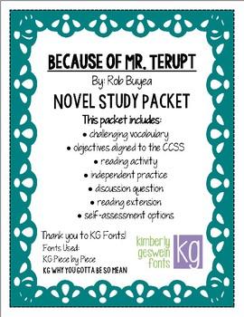 Because of Mr. Terupt Novel Study