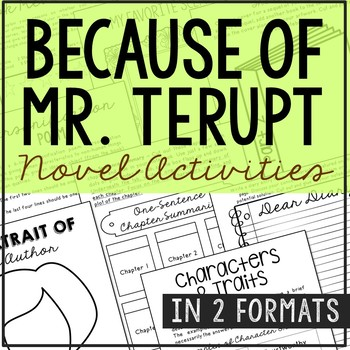 Because of Mr. Terupt Interactive Notebook Novel Unit Study Activities, Project