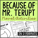 Because of Mr. Terupt Novel Study, Interactive Notebook and Worksheet Formats
