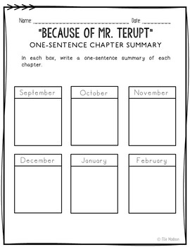 Because of Mr. Terupt Novel Unit Study Activities, Book Companion Worksheets