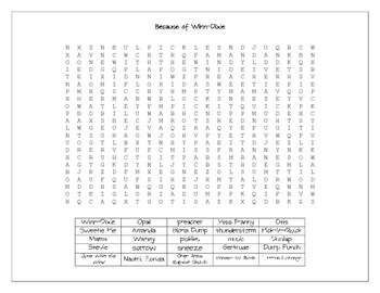 Because of Winn-Dixie Word Search