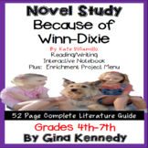Because of Winn-Dixie Novel Study & Enrichment Project Menu
