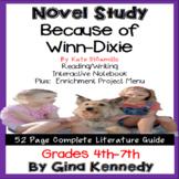 Because of Winn-Dixie Novel Study &  Project Menu; Plus Digital Option