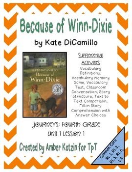 Because of Winn-Dixie Activities 4th Grade Journeys Unit 1