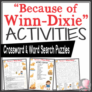 Because of Winn-Dixie Activities Kate DiCamillo Crossword & Word Search