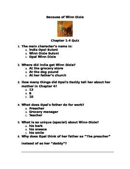Because of Winn Dixie Assessment Packet