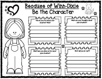 Because of Winn-Dixie Be the Character Graphic Organizer for Opal