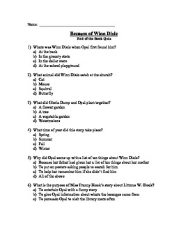 Because of Winn Dixie Book Assessments - Bundle of 3