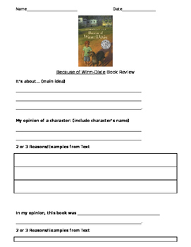 Because of Winn-Dixie Book Report or Book Review Task