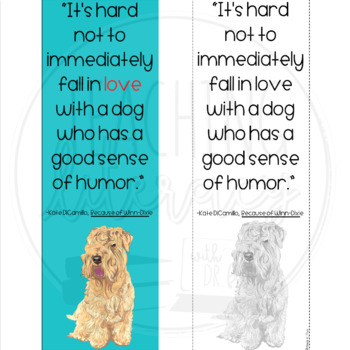Book Quote Bookmark Because Of Winn Dixie Color Blackwhite