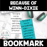 Because of Winn Dixie Novel Study Bookmark