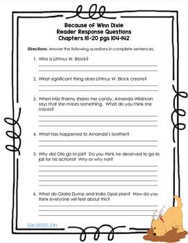 Because of Winn Dixie Novel Unit for Grades 4-6 Common Core Aligned
