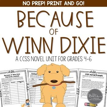 Because of Winn Dixie Novel Unit for Grades 4-6 Common Cor