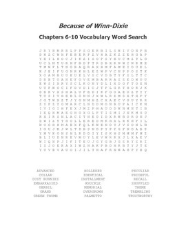 Because of Winn-Dixie Ch. 6-10 Vocabulary Word Search