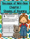 Because of Winn-Dixie Chapter 1 Shades of Meaning Activity Sheets
