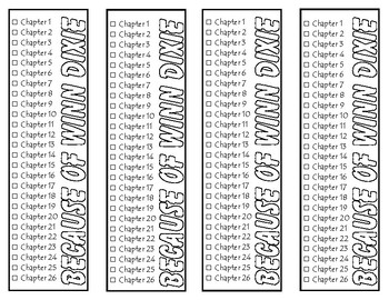 Because of Winn Dixie Chapter Checklist Bookmarks