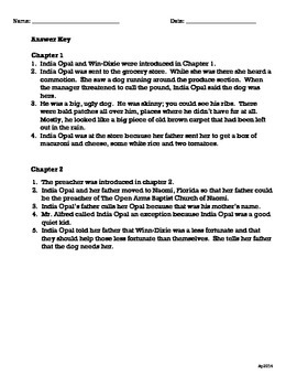 Because of Winn-Dixie Chapter Questions