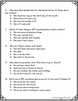 Because of Winn Dixie Test - Chapters 1-5